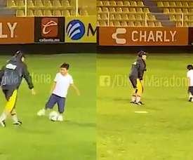 Maradona a tâté du ballon avec son fils. DiegoMaradona