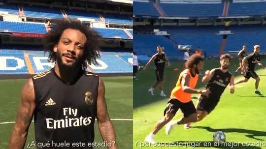 Marcelo, ansioso para voltar a jogar em casa. Collage/RealMadrid