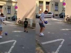 Reus se paró con un aficionado... ¡a jugar a la pelota! Collage/KaiPsotta