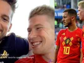 De Bruyne brincou e deixou no ar a certeza da transferência de Hazard. Collage/BelgianRedDevils
