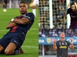 Cristiano, Messi y Mbappé son algunos de los protagonistas. BeSoccer