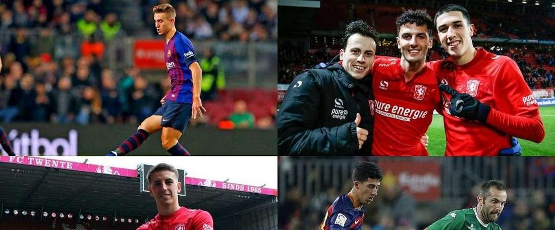 Les quatres anciens de la Masia qui se retrouvent au Twente. Montage/EFE/Twente/Barcelona