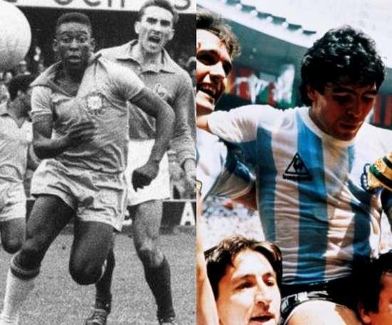 Mitos de Brasil e Argentina, Pelé e Maradona estrearam precocemente entre os adultos. AFP