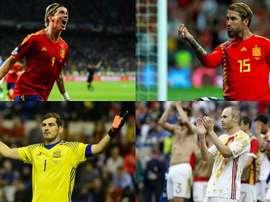 Os dez jogadores com mais partidas pela Espanha. Montaje/BeSoccer