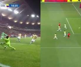 Son, la pesadilla de Colombia: gol y remate al palo. Captura/GolCaracol