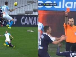 Le tacle beaucoup trop appuyé de Kalu sur Ocampos qui lui a valu le rouge. Canal+Sport