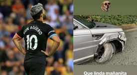 Agüero salió ileso de un accidente de tráfico. Collage/AFP/Aguero