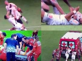 Bruno Silva sufrió un duro golpe y tuvo que ser hospitalizado. Captura