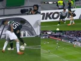 Fredy Montero le tiró un caño sensacional a un rival y la jugada acabó en gol. Captura