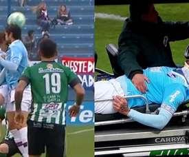 Angeliri está internado tras el fuerte choque con la cabeza de un compañero. Captura/VTV