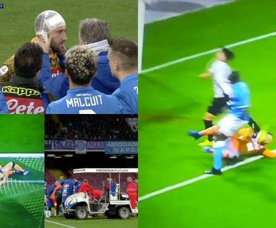 Ospina teve de ser transportado para o hospital depois de um choque violento. ESPN