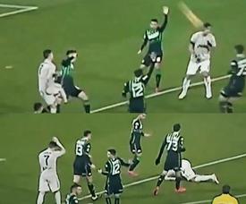 O disparo de Cristiano Ronaldo sobre Khedira. Collage/GolTV