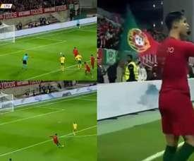 CR7 marca dois em 15 minutos e cala os críticos. Capturas/UEFATV
