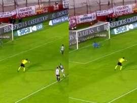 Cvitanich falló por primera vez un penalti con la camiseta de Banfield. Captura/TNTSports