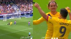 Griezmann abriu o placar contra o Eibar e comemorou com Messi e Suárez. Montagem/Movistar