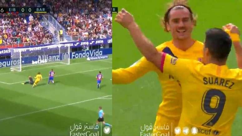 Griezmann abrió la lata y se llevó el abrazo de Messi y Suárez. Collage/Movistar