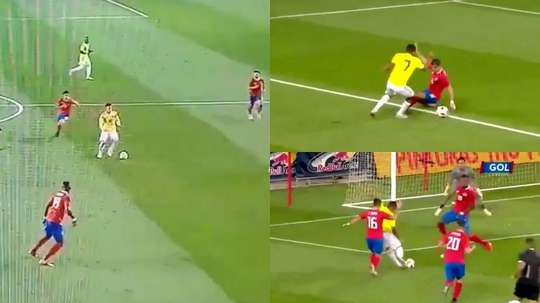 Bacca abrió el marcador ante Costa Rica. Captura/Caracol