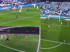 Cucho precisou de três minutos para o abrir o placar no Bernabéu. Collage/beINSports