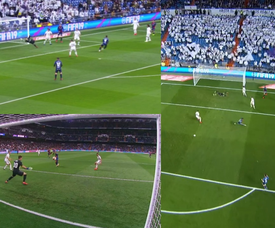 Cucho exploite la mollesse du Real Madrid. Collage/beINSports