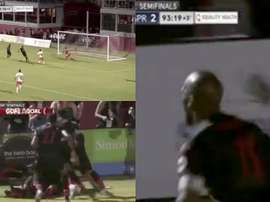 Drogba scored the winning goal in the 93rd minute. Captura