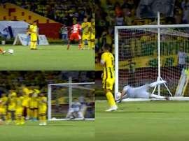 Dájome anotó un gran gol de falta tras hacerle un caño a un compañero. Captura/WINSports