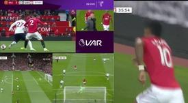Rashford scored for United, but it was highly controversial. Collage/DAZN/Telemundo