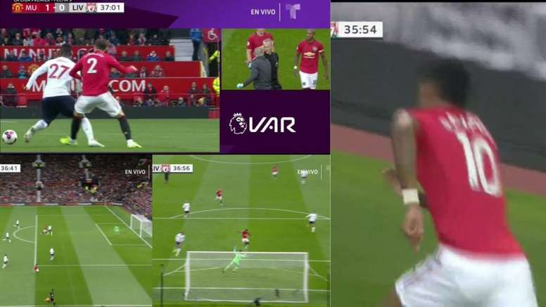 Rashford scored for United, but it was highly controversial. Collage/DAZN/Telemundo