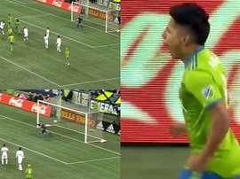 Ruidíaz firmó un golazo después de ejecutar una gran volea. Captura/MLS