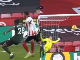 Ndombele marque à l'aveugle l'un des buts de la saison. Captura/DAZN