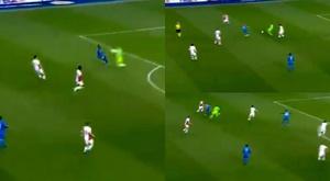 Kolar le regaló el gol al rival. Captura/MovistarLigadeCampeones