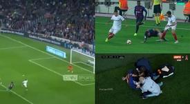 Lionel Messi s'est blessé. Capture/Movistar