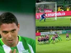 Bocanegra anotó un golazo de falta directa. Captura/WinSports