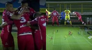 Omar Pérez anotó un gran gol tras un saque de esquina. Captura/WinSports