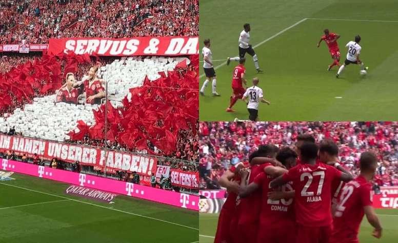 Hommage et but à l'Allianz Arena. FCBayern/Capture Fox