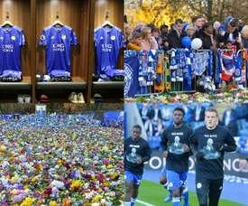 Flores, mensagens e camisas comemorativas em homenagem a Vichai. LeicesterFC