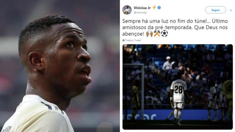 A mensagem de Vinícius após confirmação como reserva. Collage/EFE/Instagram