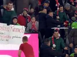 Kimmich le dio la camiseta a un niño y un aficionado intentó quitársela. Captura