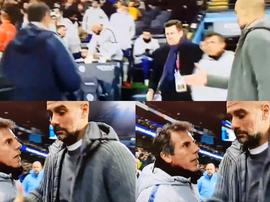 Sarri não cumprimentou Guardiola no final do encontro. Collage/Movistar+