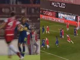 Pese a la injusticia del árbitro, Boca no tardó en inaugurar el marcador. TNTSports
