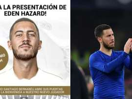 Real Madrid have called on their fans to come out for Hazard's presentation. Collage/RealMadrid/AFP