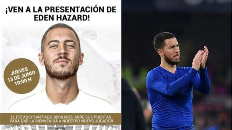 Le Real Madrid prépare déjà la présentation d'Hazard. Collage/RealMadrid/AFP