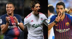Mbappé, Torres y Luis Suárez fueron protagonistas de los mercados en distintos años. AFP/EFE