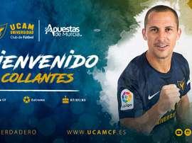 Collantes llegó al Murcia. Twitter/UCAMMurciaCF