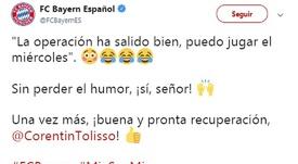 Tolisso bromeó tras la operación. Twitter/FCBayernES