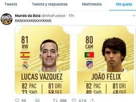 La réaction de Joao Félix en voyant que Lucas Vázquez est meilleur que lui sur FIFA. Capture/Twitter