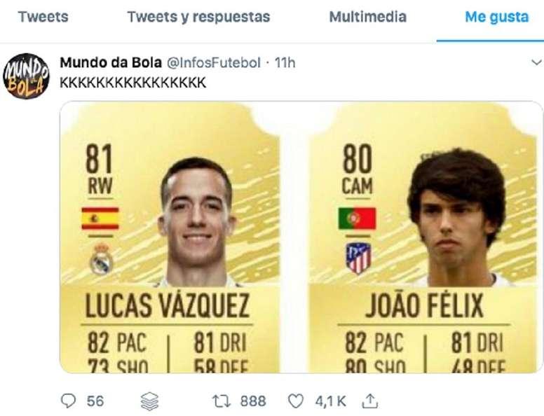 Lucas, con más valoración en el FIFA 2020 que Joao Félix. Captura/Twitter
