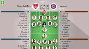 Compos Brest-Toulouse, 1ère journée de la saison 2019-20 de Ligue 1, 10/08/2019. BeSoccer