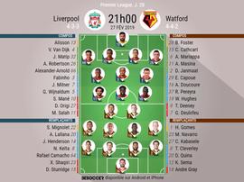Compos Liverpool-Watford, 28ème journée de l'édition 2018-19 de Premier League, 27/02/2019. BeSoccer