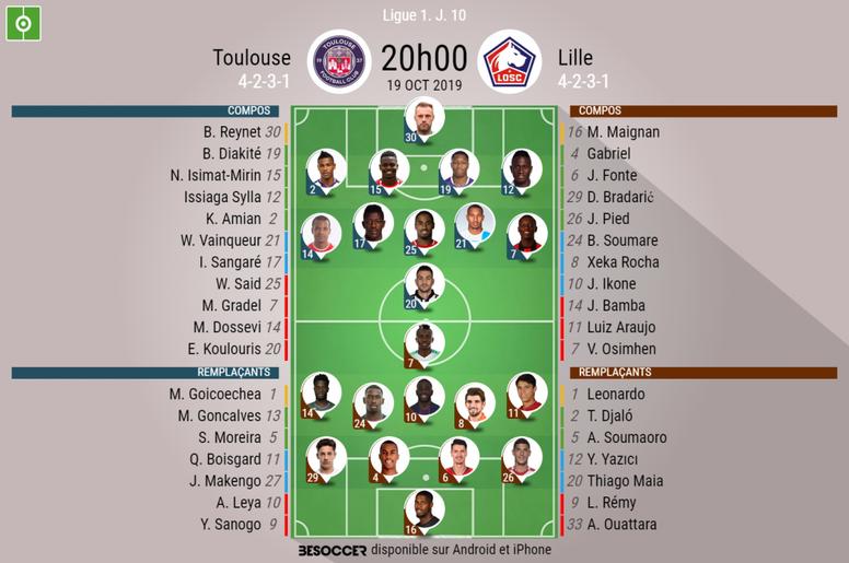 Les compos officielles du match de Ligue 1 entre Toulouse et Lille. AFP