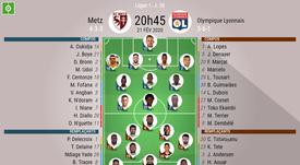 Les compos officielles du match de Ligue 1 entre Metz et Lyon. AFP